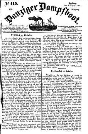 Danziger Dampfboot für Geist, Humor, Satire, Poesie, Welt- und Volksleben, Korrespondenz, Kunst, Literatur und Theater vom 08.08.1851