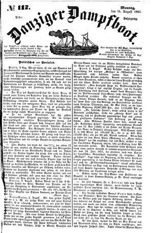 Danziger Dampfboot für Geist, Humor, Satire, Poesie, Welt- und Volksleben, Korrespondenz, Kunst, Literatur und Theater vom 11.08.1851