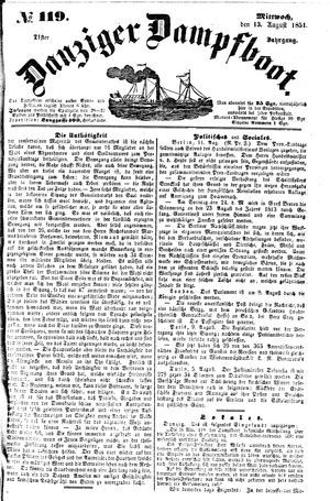 Danziger Dampfboot für Geist, Humor, Satire, Poesie, Welt- und Volksleben, Korrespondenz, Kunst, Literatur und Theater on Aug 13, 1851