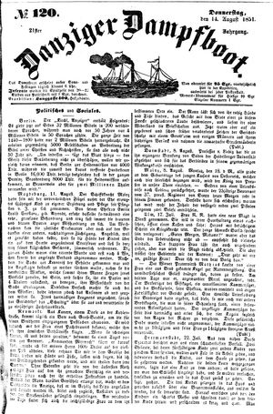 Danziger Dampfboot für Geist, Humor, Satire, Poesie, Welt- und Volksleben, Korrespondenz, Kunst, Literatur und Theater vom 14.08.1851