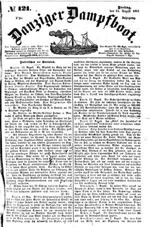 Danziger Dampfboot für Geist, Humor, Satire, Poesie, Welt- und Volksleben, Korrespondenz, Kunst, Literatur und Theater vom 15.08.1851