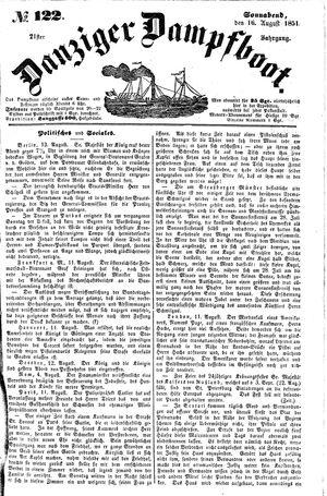 Danziger Dampfboot für Geist, Humor, Satire, Poesie, Welt- und Volksleben, Korrespondenz, Kunst, Literatur und Theater vom 16.08.1851