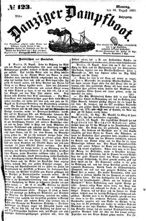 Danziger Dampfboot für Geist, Humor, Satire, Poesie, Welt- und Volksleben, Korrespondenz, Kunst, Literatur und Theater vom 18.08.1851