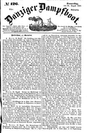 Danziger Dampfboot für Geist, Humor, Satire, Poesie, Welt- und Volksleben, Korrespondenz, Kunst, Literatur und Theater vom 21.08.1851