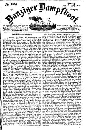 Danziger Dampfboot für Geist, Humor, Satire, Poesie, Welt- und Volksleben, Korrespondenz, Kunst, Literatur und Theater vom 22.08.1851