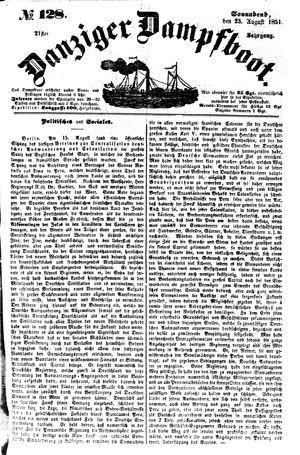 Danziger Dampfboot für Geist, Humor, Satire, Poesie, Welt- und Volksleben, Korrespondenz, Kunst, Literatur und Theater vom 23.08.1851