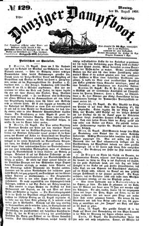 Danziger Dampfboot für Geist, Humor, Satire, Poesie, Welt- und Volksleben, Korrespondenz, Kunst, Literatur und Theater vom 25.08.1851
