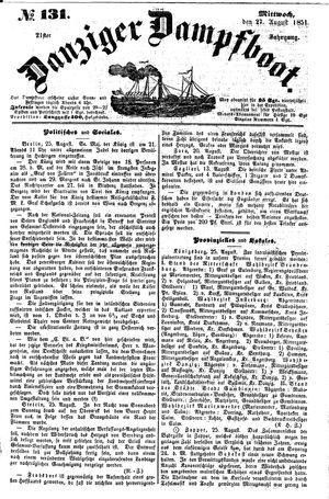 Danziger Dampfboot für Geist, Humor, Satire, Poesie, Welt- und Volksleben, Korrespondenz, Kunst, Literatur und Theater vom 27.08.1851
