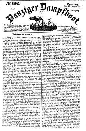 Danziger Dampfboot für Geist, Humor, Satire, Poesie, Welt- und Volksleben, Korrespondenz, Kunst, Literatur und Theater vom 28.08.1851