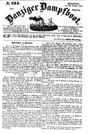 Danziger Dampfboot für Geist, Humor, Satire, Poesie, Welt- und Volksleben, Korrespondenz, Kunst, Literatur und Theater vom 30.08.1851