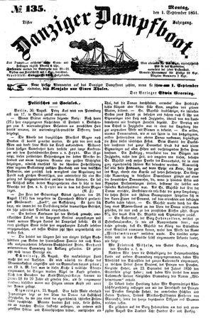 Danziger Dampfboot für Geist, Humor, Satire, Poesie, Welt- und Volksleben, Korrespondenz, Kunst, Literatur und Theater vom 01.09.1851