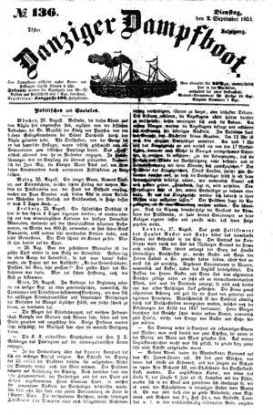 Danziger Dampfboot für Geist, Humor, Satire, Poesie, Welt- und Volksleben, Korrespondenz, Kunst, Literatur und Theater vom 02.09.1851