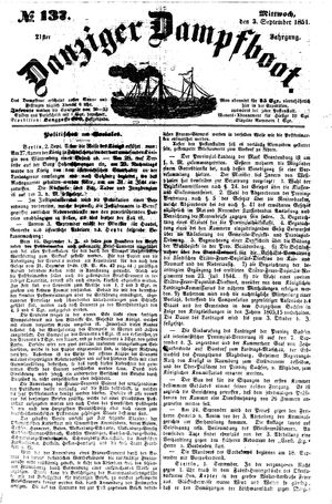 Danziger Dampfboot für Geist, Humor, Satire, Poesie, Welt- und Volksleben, Korrespondenz, Kunst, Literatur und Theater vom 03.09.1851