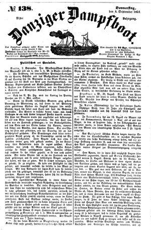 Danziger Dampfboot für Geist, Humor, Satire, Poesie, Welt- und Volksleben, Korrespondenz, Kunst, Literatur und Theater vom 04.09.1851
