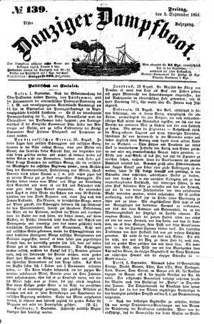 Danziger Dampfboot für Geist, Humor, Satire, Poesie, Welt- und Volksleben, Korrespondenz, Kunst, Literatur und Theater vom 05.09.1851