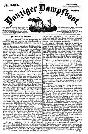 Danziger Dampfboot für Geist, Humor, Satire, Poesie, Welt- und Volksleben, Korrespondenz, Kunst, Literatur und Theater vom 06.09.1851