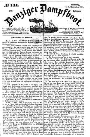 Danziger Dampfboot für Geist, Humor, Satire, Poesie, Welt- und Volksleben, Korrespondenz, Kunst, Literatur und Theater vom 08.09.1851
