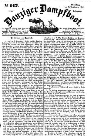 Danziger Dampfboot für Geist, Humor, Satire, Poesie, Welt- und Volksleben, Korrespondenz, Kunst, Literatur und Theater vom 09.09.1851