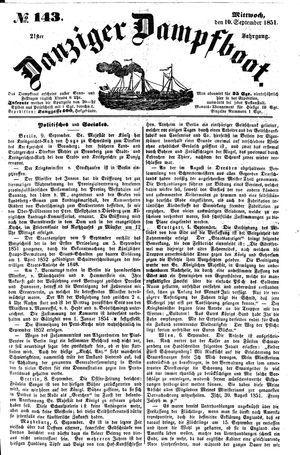 Danziger Dampfboot für Geist, Humor, Satire, Poesie, Welt- und Volksleben, Korrespondenz, Kunst, Literatur und Theater vom 10.09.1851