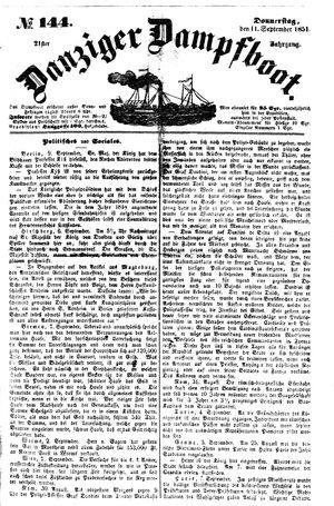 Danziger Dampfboot für Geist, Humor, Satire, Poesie, Welt- und Volksleben, Korrespondenz, Kunst, Literatur und Theater vom 11.09.1851