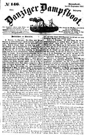 Danziger Dampfboot für Geist, Humor, Satire, Poesie, Welt- und Volksleben, Korrespondenz, Kunst, Literatur und Theater vom 13.09.1851