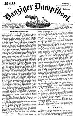 Danziger Dampfboot für Geist, Humor, Satire, Poesie, Welt- und Volksleben, Korrespondenz, Kunst, Literatur und Theater vom 15.09.1851