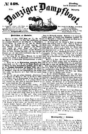 Danziger Dampfboot für Geist, Humor, Satire, Poesie, Welt- und Volksleben, Korrespondenz, Kunst, Literatur und Theater vom 16.09.1851