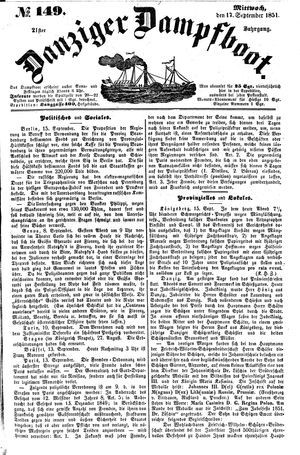 Danziger Dampfboot für Geist, Humor, Satire, Poesie, Welt- und Volksleben, Korrespondenz, Kunst, Literatur und Theater vom 17.09.1851