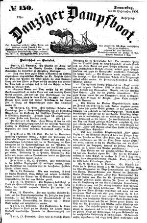 Danziger Dampfboot für Geist, Humor, Satire, Poesie, Welt- und Volksleben, Korrespondenz, Kunst, Literatur und Theater vom 18.09.1851