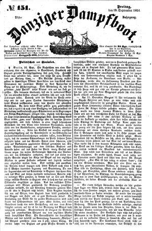 Danziger Dampfboot für Geist, Humor, Satire, Poesie, Welt- und Volksleben, Korrespondenz, Kunst, Literatur und Theater vom 19.09.1851