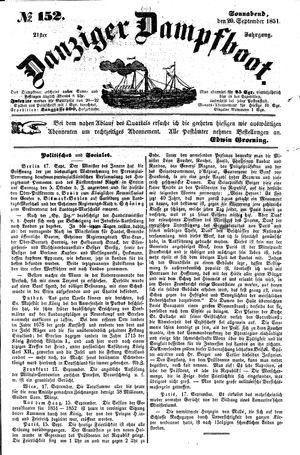 Danziger Dampfboot für Geist, Humor, Satire, Poesie, Welt- und Volksleben, Korrespondenz, Kunst, Literatur und Theater vom 20.09.1851