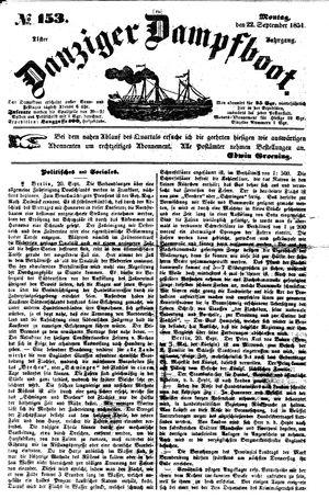 Danziger Dampfboot für Geist, Humor, Satire, Poesie, Welt- und Volksleben, Korrespondenz, Kunst, Literatur und Theater vom 22.09.1851