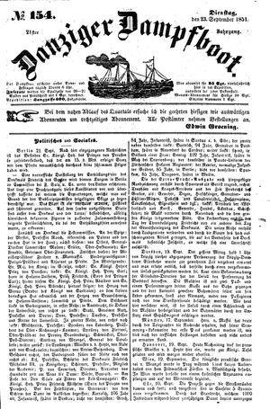 Danziger Dampfboot für Geist, Humor, Satire, Poesie, Welt- und Volksleben, Korrespondenz, Kunst, Literatur und Theater vom 23.09.1851