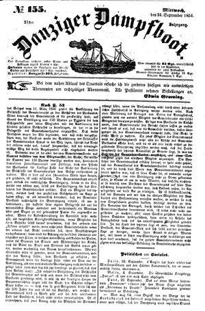 Danziger Dampfboot für Geist, Humor, Satire, Poesie, Welt- und Volksleben, Korrespondenz, Kunst, Literatur und Theater vom 24.09.1851