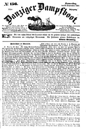 Danziger Dampfboot für Geist, Humor, Satire, Poesie, Welt- und Volksleben, Korrespondenz, Kunst, Literatur und Theater vom 25.09.1851