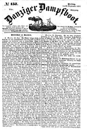 Danziger Dampfboot für Geist, Humor, Satire, Poesie, Welt- und Volksleben, Korrespondenz, Kunst, Literatur und Theater vom 26.09.1851