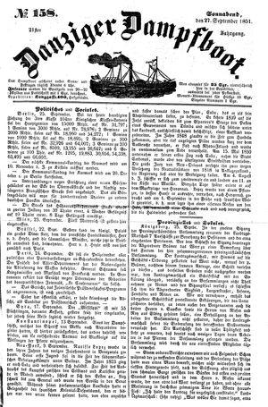 Danziger Dampfboot für Geist, Humor, Satire, Poesie, Welt- und Volksleben, Korrespondenz, Kunst, Literatur und Theater vom 27.09.1851