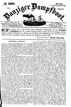 Danziger Dampfboot für Geist, Humor, Satire, Poesie, Welt- und Volksleben, Korrespondenz, Kunst, Literatur und Theater vom 30.09.1851