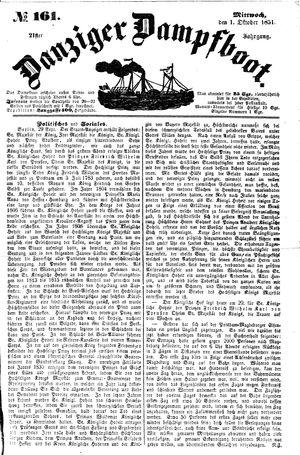 Danziger Dampfboot für Geist, Humor, Satire, Poesie, Welt- und Volksleben, Korrespondenz, Kunst, Literatur und Theater vom 01.10.1851