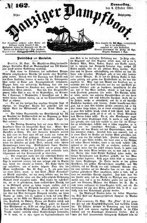 Danziger Dampfboot für Geist, Humor, Satire, Poesie, Welt- und Volksleben, Korrespondenz, Kunst, Literatur und Theater vom 02.10.1851