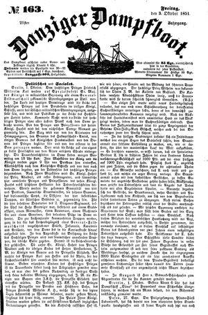 Danziger Dampfboot für Geist, Humor, Satire, Poesie, Welt- und Volksleben, Korrespondenz, Kunst, Literatur und Theater vom 03.10.1851