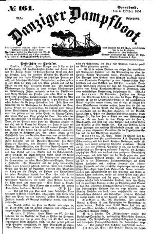 Danziger Dampfboot für Geist, Humor, Satire, Poesie, Welt- und Volksleben, Korrespondenz, Kunst, Literatur und Theater vom 04.10.1851