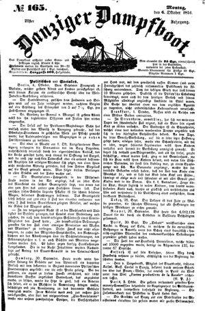 Danziger Dampfboot für Geist, Humor, Satire, Poesie, Welt- und Volksleben, Korrespondenz, Kunst, Literatur und Theater vom 06.10.1851
