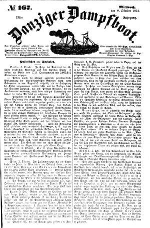 Danziger Dampfboot für Geist, Humor, Satire, Poesie, Welt- und Volksleben, Korrespondenz, Kunst, Literatur und Theater vom 08.10.1851