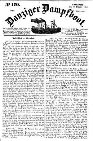 Danziger Dampfboot für Geist, Humor, Satire, Poesie, Welt- und Volksleben, Korrespondenz, Kunst, Literatur und Theater vom 11.10.1851