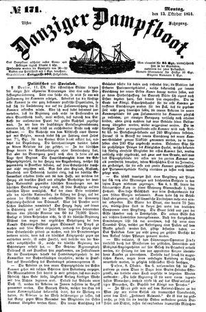 Danziger Dampfboot für Geist, Humor, Satire, Poesie, Welt- und Volksleben, Korrespondenz, Kunst, Literatur und Theater vom 13.10.1851