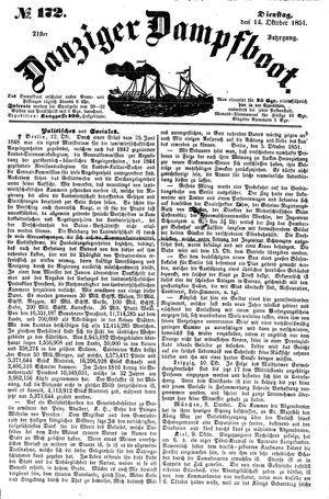 Danziger Dampfboot für Geist, Humor, Satire, Poesie, Welt- und Volksleben, Korrespondenz, Kunst, Literatur und Theater vom 14.10.1851