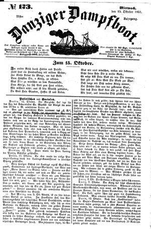 Danziger Dampfboot für Geist, Humor, Satire, Poesie, Welt- und Volksleben, Korrespondenz, Kunst, Literatur und Theater vom 15.10.1851