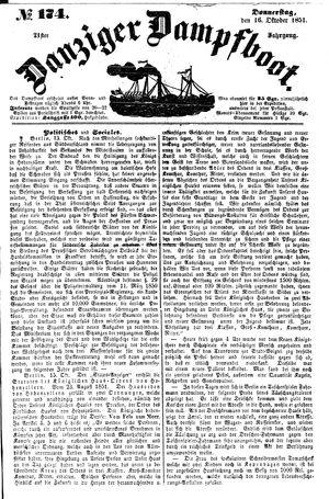 Danziger Dampfboot für Geist, Humor, Satire, Poesie, Welt- und Volksleben, Korrespondenz, Kunst, Literatur und Theater vom 16.10.1851