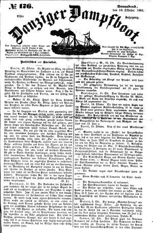 Danziger Dampfboot für Geist, Humor, Satire, Poesie, Welt- und Volksleben, Korrespondenz, Kunst, Literatur und Theater vom 18.10.1851